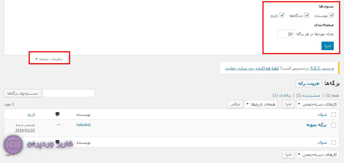 مخفی کردن اطلاعات اضافی در صفحه مدیریت برگه های وردپرس