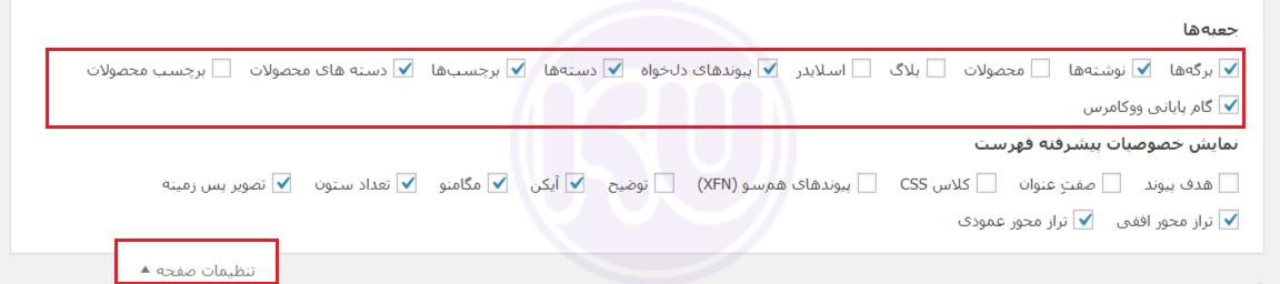 تنظیمات صفحه در تنظیمات منوی وردپرس
