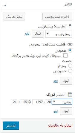 باکس تنظیمات انتشار در وردپرس