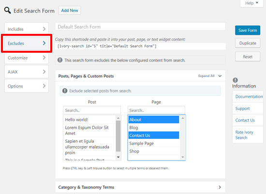 تنظیمات بخش Excludes در افزونه افزودن نوار جستجو به منوی وردپرس