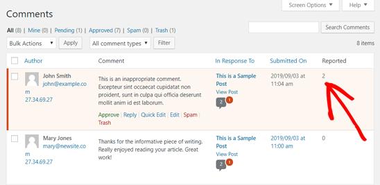 ریپورت دیدگاه های منفی در WordPress