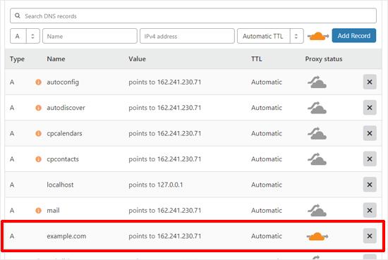 برای تنظیم Cloudflare ، سوابق DNS را تأیید کنید