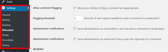 تنظیمات بیشتر افزونه گزارش نظرات نامناسب در وردپرس