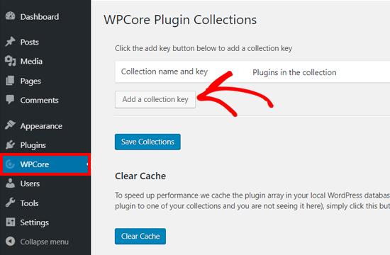 کلید جمع آوری را در افزونه WPCore Plugin Manager اضافه کنید
