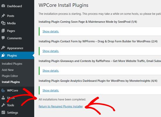 همه افزونه های نصب شده در وردپرس با WPCore