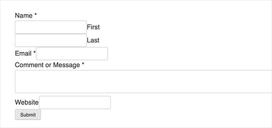 فرم تماس بدون بارگیری فایل های ظاهر