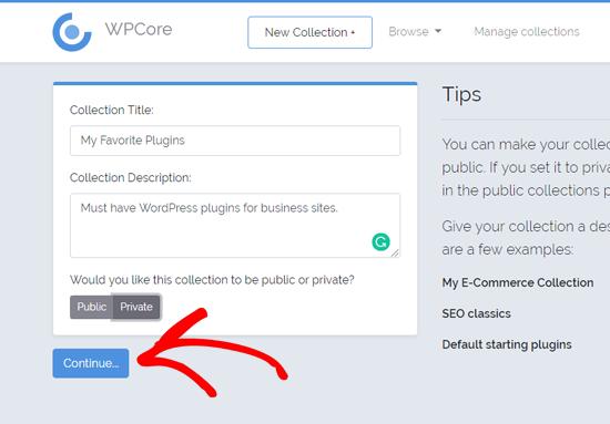 یک مجموعه پلاگین جدید را در WPCore ایجاد کنید