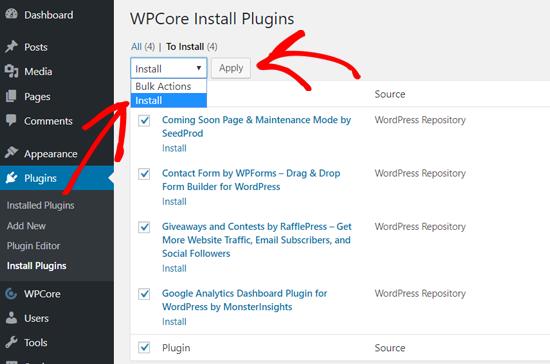افزونه های وردپرس را به صورت عمده با WPCore نصب کنید