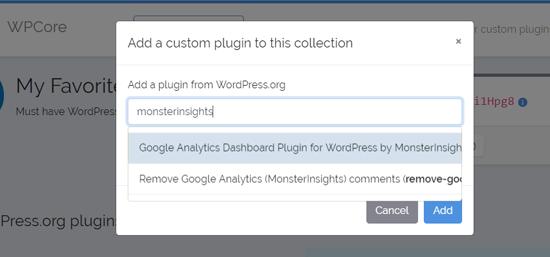 افزونه را جستجو کنید تا در افزونه WPCore Plugin خود اضافه کنید