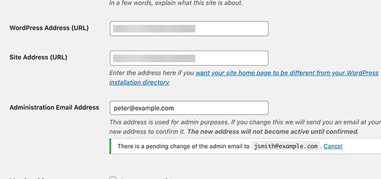 تأیید آدرس ایمیل مدیر وردپرس 5.3
