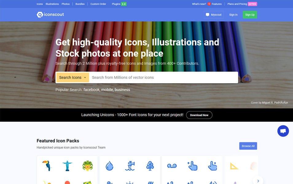 سایت Iconscout یک سایت عالی برای دانلود انواع آیکون های زیبا و تصویر مختلف SVG است