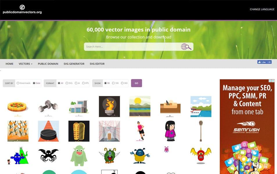 سایت Public Domain Vectors یک منبع بسیار خوب برای پیداکردن وکتورهای مختلف و رایگان