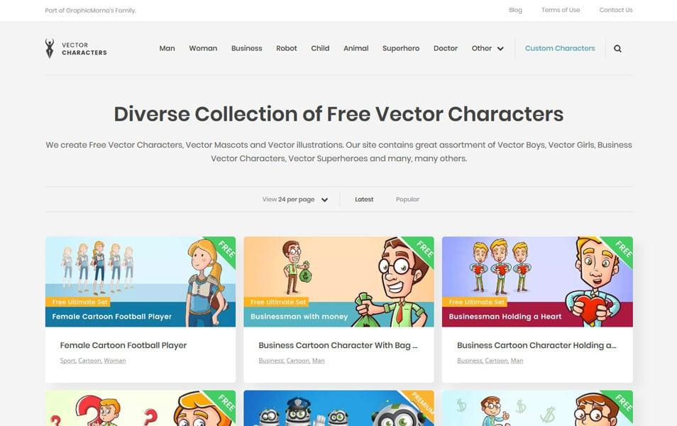 سایت Vector Characters یک منبع فوق العاده برای دانلود انواع وکتور