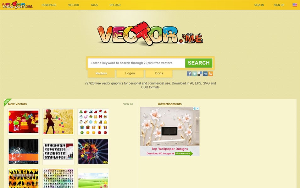 سایت Vector.me یکی دیگر از سایت های دانلود وکتور رایگان