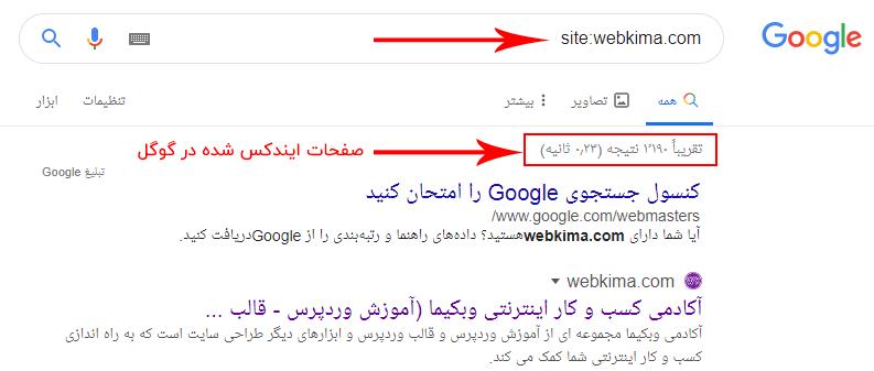 دیدن تعداد صفحات ایندکس شده در گوگل برای تحلیل رقبا