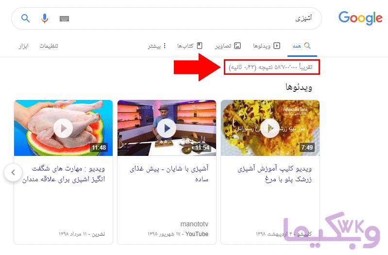 جستجوی کلمه آشپزی در گوگل برای تحقیق در حوزه کاری آنلاین