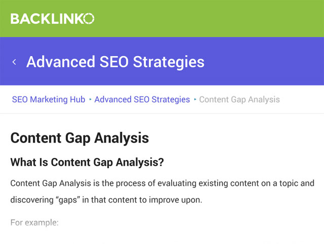 Backlinko – SEO Hub: Content Gap Analysis