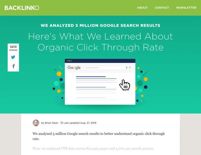مطالعه سایت بک لینکو در رابطه نتایج جستجوی اورگانیک گوگل