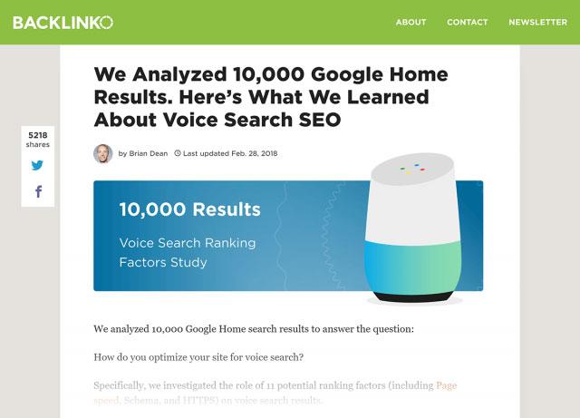مقاله سایت بکلینکو در رابطه با تحقیقات جستجوی صوتی