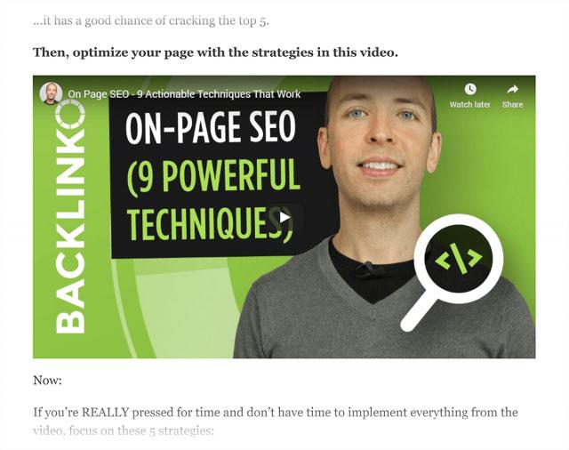 ویدیوی YouTube Backlinko در پست حسابرسی سایت SEO تعبیه شده است
