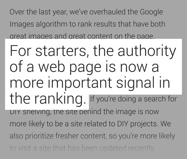 وبلاگ گوگل در مورد نتایج حاصل از صفحات معتبر