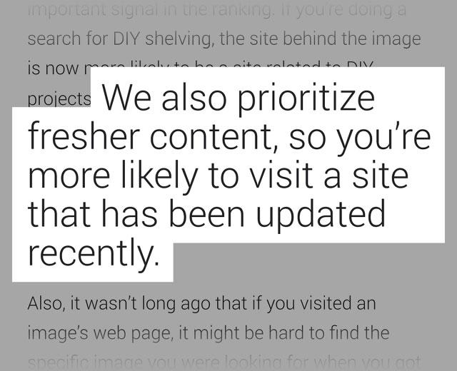 وبلاگ گوگل در مورد نتایج حاصل از صفحات تازه