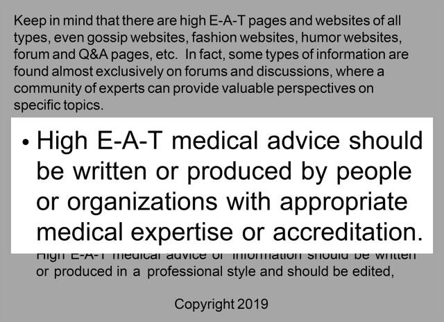 دستورالعمل های Google درباره ایجاد مشاوره پزشکی E-A-T بالا