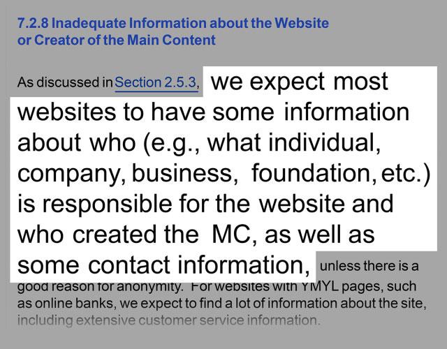 دستورالعمل های Google درباره اطلاعات سازندگان