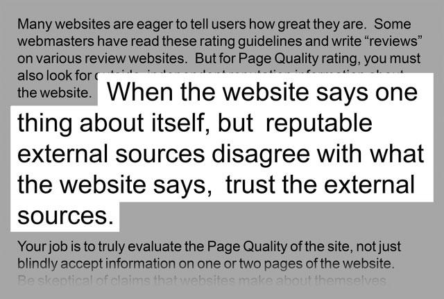 دستورالعمل های Google در مورد اعتماد به منابع خارجی