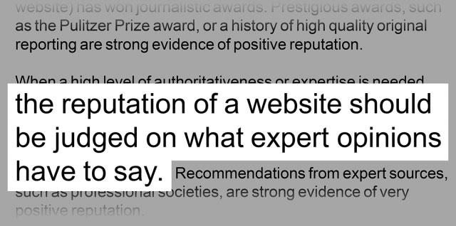 دستورالعمل های Google در مورد اعتبار وب سایت