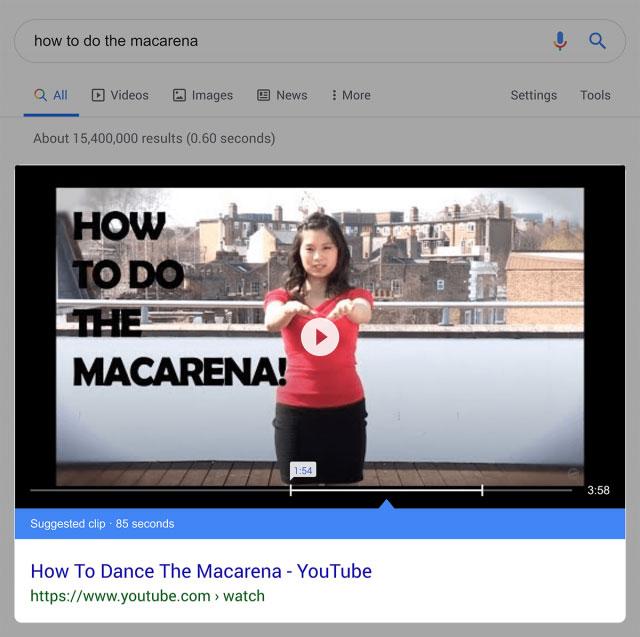 ریچ اسنیپت های ویدیویی در جستجوی گوگل