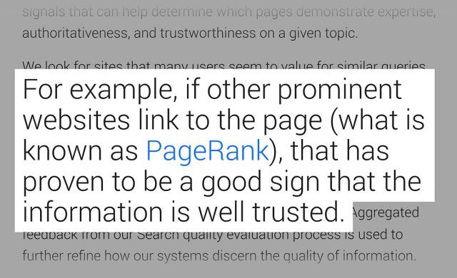 گزارش گوگل در رابطه با مهم بودن بک لینک ها
