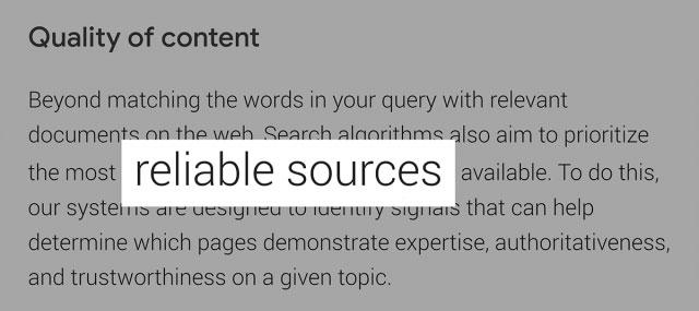 گزارش جستجوی Google درباره اولویت بندی منابع معتبر