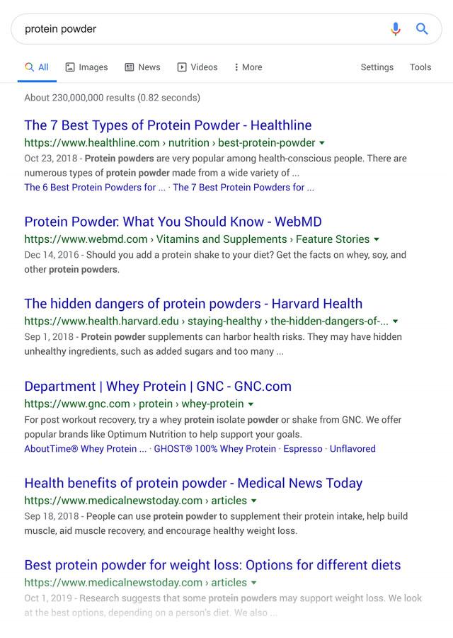"""نتایج جستجوی گوگل برای کلمه کلیدی """"protein powder"""""""
