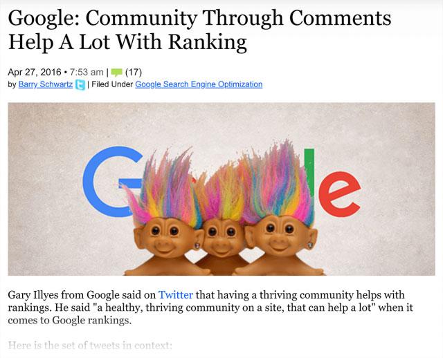 گوگل اطهار کرده است که جامعه (نظرات وبلاگ) در رتبه بندی بسیار تاثیر گذار است