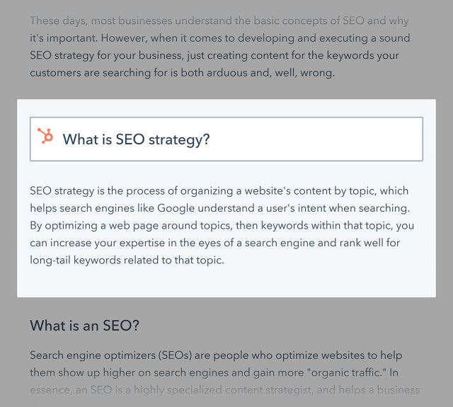 HubSpot featured snippet