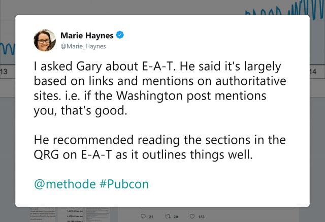 ماری هینز درباره ذکرهای خارجی توئیت می کند