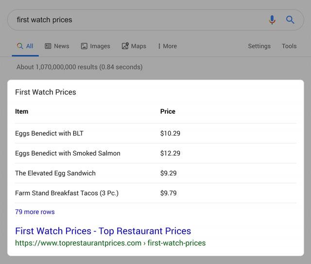 نتایج جستجوی Table Snippet