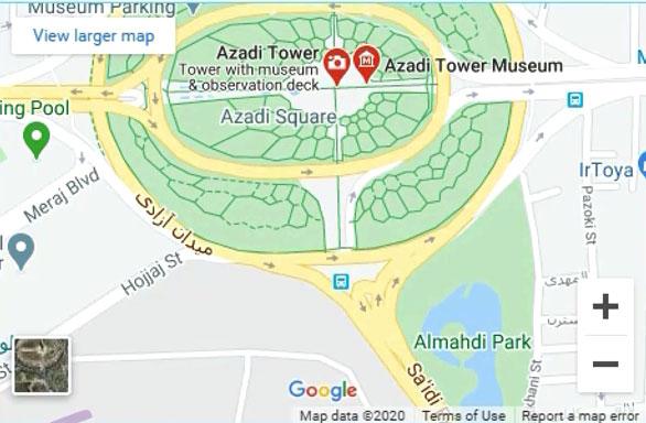 نقشه طراحی شده با استفاده از المان گوگل مپ المنتور