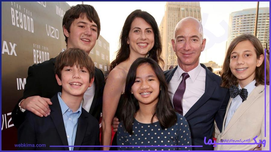 تصویری از همسر و فرزندان جف بیزوس
