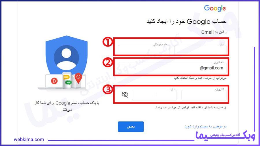 persian submit form -ایجاد حساب جیمیل