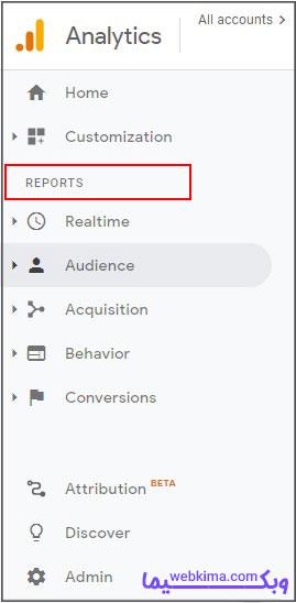 گزارش گوگل آنالیز reporting