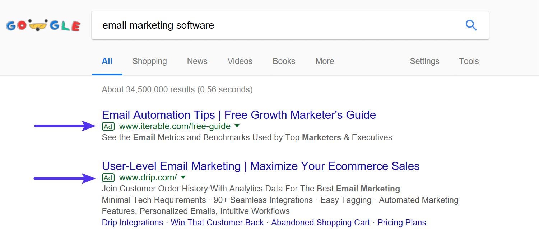 نمونه ای از تبلیغات گوگل - ADS