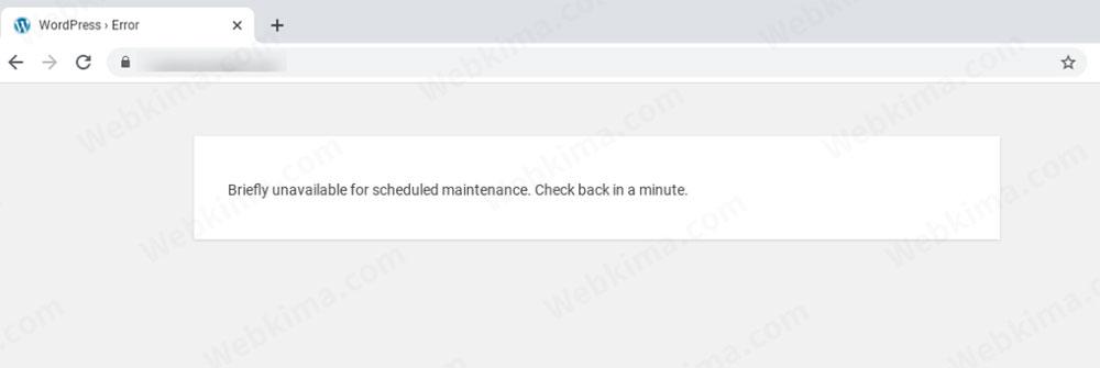 """تصویری از خطای """"جهت انجام عملیات تعمیرات زمانبندی شده برای مدت کوتاهی در دسترس نیست. یک دقیقه دیگر مراجعه کنید."""""""