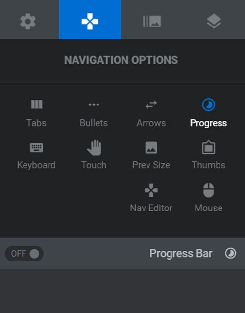 تصویری از تنظیمات Navigation Options در روولوشن اسلایدر