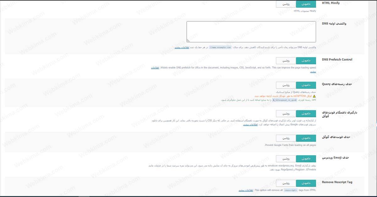 بررسی تنظیمات مهم دیگر در آموزش افزونه LiteSpeed Cache