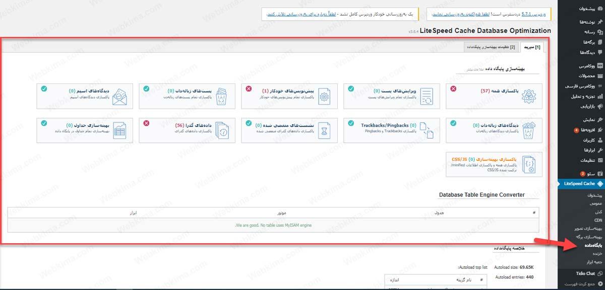 تنظیمات پایگاه داده در افزونه لایت اسپید کش