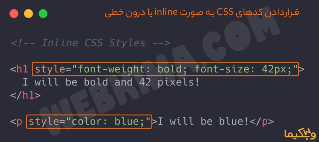 قراردادن کدهای CSS به صورت inline یا درون خطی