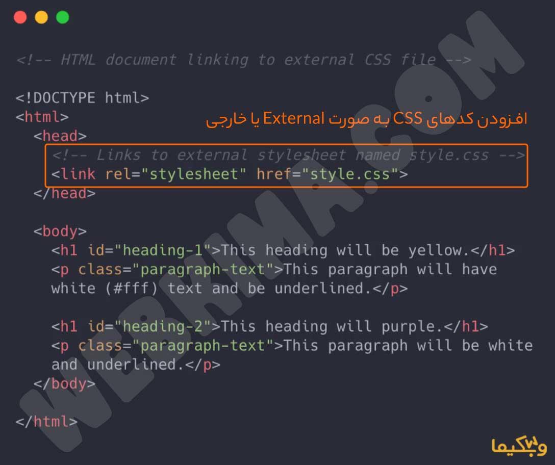 افزودن کدهای CSS به صورت External یا خارجی | سی اس اس چیست؟