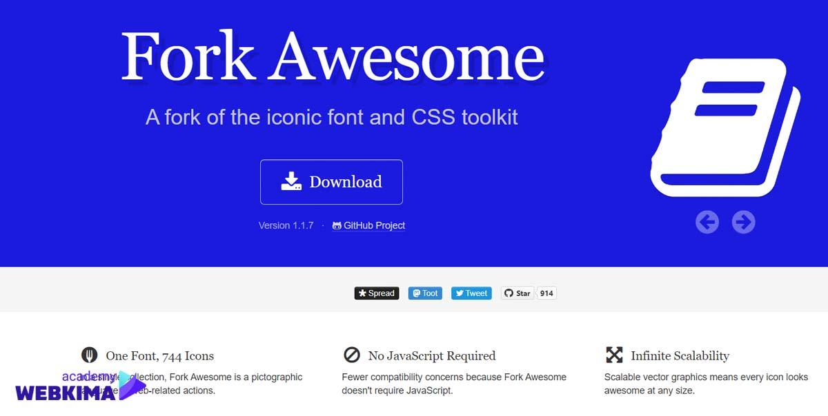 بهترین منابع دانلود آیکون های رایگان - سایت Fork Awesome
